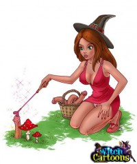 Redheaded witch in a forest - masturbation with a mushroom
